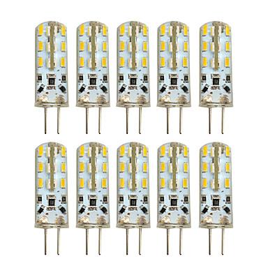 HKV 10pcs 2W 100-200 lm G4 LED Bi-pin 조명 T 24 LED가 SMD 3014 따뜻한 화이트 차가운 화이트 DC 12 AC 220-240V