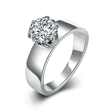 Kadın's Yüzük Nişan yüzüğü Moda minimalist tarzı Titanyum Çelik Round Shape Mücevher Uyumluluk Düğün Parti Özel Anlar Doğumgünü Nişan