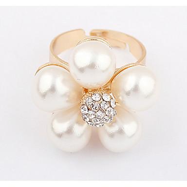 Herrn Damen Ring Bandring Strass Imitierte Perlen Personalisiert Blumig Einzigartiges Design Logo Stil Klassisch Retro Böhmische