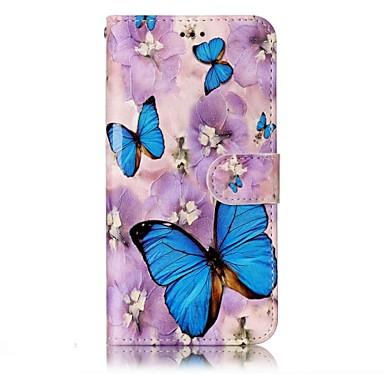 Pentru lg g6 caz acoperă violet flori fluture model strălucire relief pu materiale carte stent portofel telefon caz