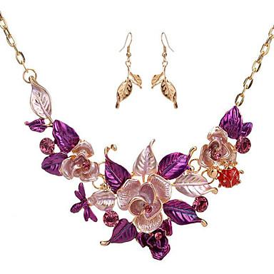 Kadın's Vintage Kolye Mücevher Çiçek Çiçek Stili Çiçekler Düğün Parti Özel Anlar Günlük Çiçek 1 Kolye 1 Çift Küpe