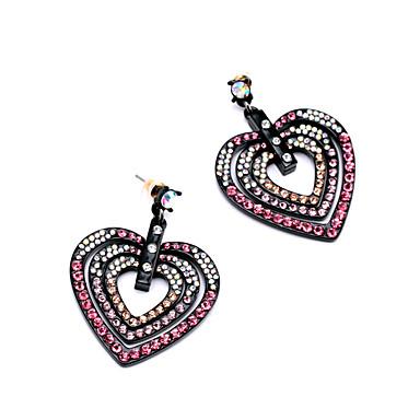 Cercei Rotunzi Cristal Iubire Inimă Personalizat Euramerican Rosu Bijuterii Pentru Nuntă Petrecere Zi de Naștere 1 pereche
