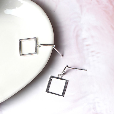 Kolczyki na sztyft Unikalny Modny Srebro standardowe Square Shape Biżuteria Na Codzienny Casual 1 para