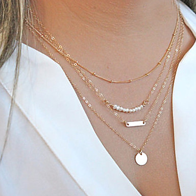 cheap Necklaces-Women's Pearl Layered Bar Chain Necklace Layered Necklace Pearl Necklace Pearl Dainty Ladies Personalized Fashion Necklace Jewelry For Christmas Gifts Party Daily Casual Sports