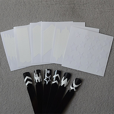 6 Nail Art autocolant Diecut Manichiura Stencil 3D Acțibilduri de Unghii machiaj cosmetice Nail Art Design