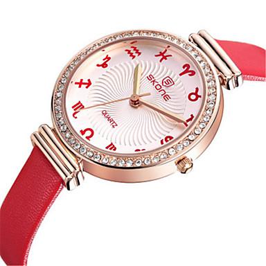 SKONE Dames Modieus horloge Kwarts s Nachts oplichtend Leer Band Bruin Roze