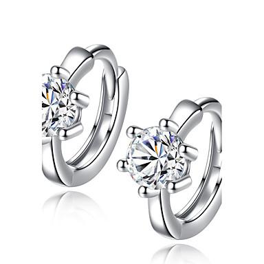 Pentru femei Cercei Rotunzi  Design Unic Zirconiu Cubic Placat cu platină Bijuterii Argintiu Nuntă Petrecere Zilnic Casual Costum de