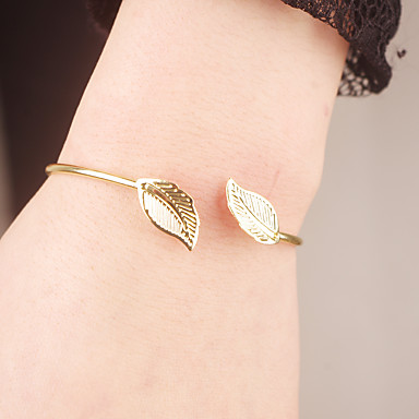 Damskie Bransoletki cuff Biżuteria Modny biżuteria kostiumowa Stop Leaf Shape Biżuteria Na Specjalne okazje Zaręczynowy