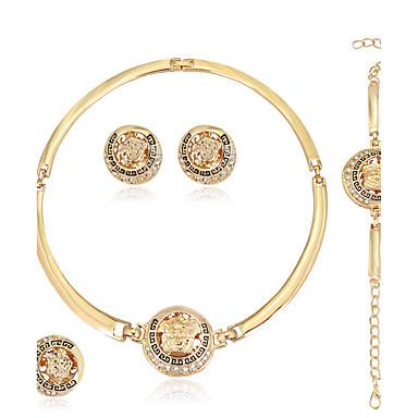 للمرأة حجر الراين مجموعة مجوهرات الحلقات 1 قلادة 1 زوج من الأقراط 1 سوار - euramerican في موضة دائري Geometric Shape ذهبي مجموعة مجوهرات