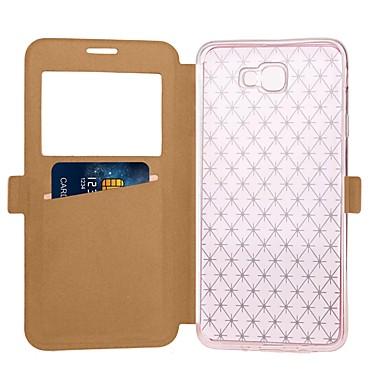 hoesje Voor Samsung Galaxy J7 Prime J5 Prime Kaarthouder met standaard met venster Flip Volledig hoesje Effen Kleur Hard PU-nahka voor J7