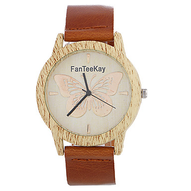 Męskie Kwarcowy Unikalne Kreatywne Watch Zegarek na nadgarstek Chiński / drewniany Skóra Pasmo Na co dzień Drewno Nowoczesne Czarny