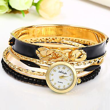 Damen Armband-Uhr Chinesisch Quartz Mehrfarbig Legierung Band Armreif Schwarz Weiß Blau Rot Khaki