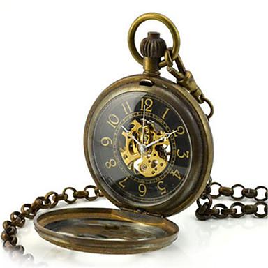 Herrn Totenkopfuhr Taschenuhr Mechanische Uhr Quartz Automatikaufzug Legierung Band Bronze