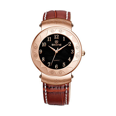 SKONE السيدات ساعات فاشن ساعة رقمية صيني كوارتز جلد فرقة أسود بني
