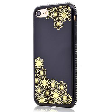 Hülle Für Apple Strass Beschichtung Spiegel Muster Rückseitenabdeckung Geometrische Muster Blume Weich TPU für iPhone 7 plus iPhone 7