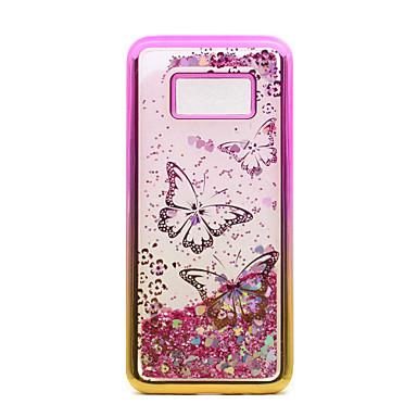 Hülle Für Samsung Galaxy S8 Plus S8 Beschichtung Mit Flüssigkeit befüllt Muster Rückseitenabdeckung Schmetterling Glänzender Schein Weich