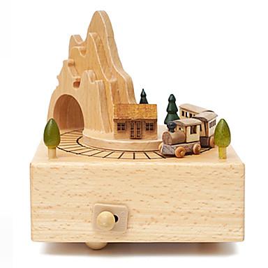 الصندوق الموسيقي مربع دائري مرح الذهاب جولة جذاب للأطفال بالغين أطفال هدية خشب للجنسين