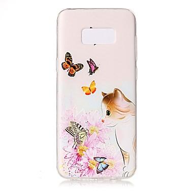 غطاء من أجل Samsung Galaxy S8 Plus S8 شفاف مطرز نموذج غطاء خلفي قطة فراشة زهور ناعم TPU إلى S8 S8 Plus S7 edge S7