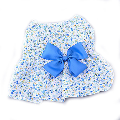 كلب الفساتين ملابس الكلاب زهور أرجواني / أزرق / زهري قطن كوستيوم للحيوانات الأليفة صيف للمرأة كاجوال / يومي / موضة