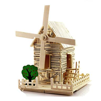 Speelgoedauto's 3D-puzzels Windmolen Hout Model Modelbouwsets Speeltjes Windmolen Beroemd gebouw Huis Architectuur DHZ Hout Unisex Stuks
