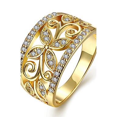Γυναικεία Κρυστάλλινο Χαλκός Επιχρυσωμένο Με Επίστρωση Ροζ Χρυσού Δαχτυλίδι αρραβώνων Δαχτυλίδι - Λουλούδι Εξατομικευόμενο Euramerican