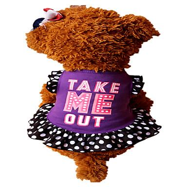 كلب الفساتين ملابس الكلاب حرف وعدد أرجواني وردي زهري قطن كوستيوم للحيوانات الأليفة صيف للمرأة جميل