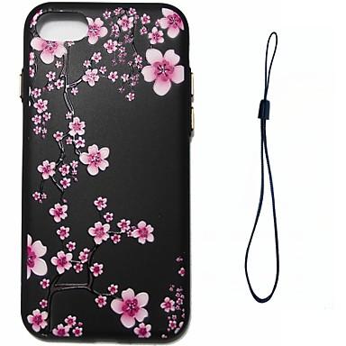 Voor apple iphone 7 7 plus 6s 6 plus se 5s 5 case cover pruim bloesem patroon brandstof injectie reliëf plating knop dikker tpu materiaal