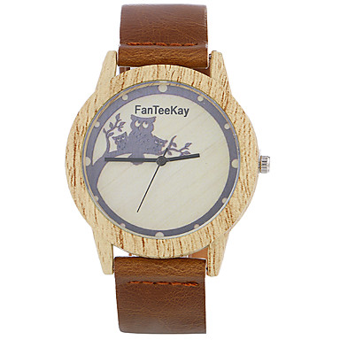 Bărbați Ceas de Mână Unic Creative ceas Ceas Casual Ceas Lemn Chineză Quartz / de lemn Piele Bandă Cool Casual Negru Maro Khaki