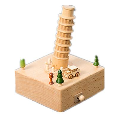 الصندوق الموسيقي الخشب نموذج ألعاب كروي بلاستيك قطع للجنسين هدية