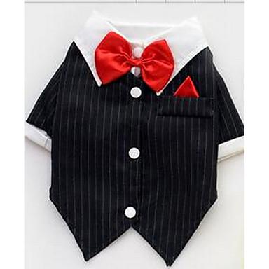 Köpek Tişört Köpek Giyimi Sevimli Günlük/Sade Moda Çizgi Siyah Kostüm Evcil hayvanlar için