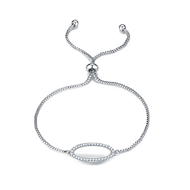 للمرأة أساور السلسلة والوصلة الصداقة موضة زركون Oval Shape مجوهرات إلى هدايا عيد الميلاد 1PC