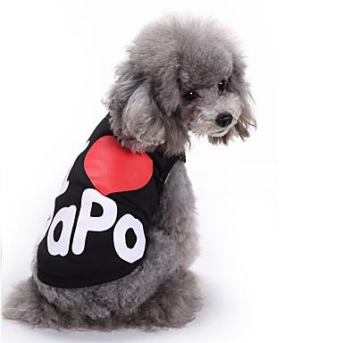 Kat Hond T-shirt Gilet Hondenkleding Schattig Casual/Dagelijks Modieus Letter & Nummer Zwart Grijs Kostuum Voor huisdieren