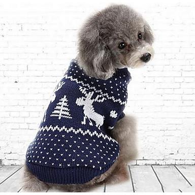 Câine Pulovere Salopete Îmbrăcăminte Câini Crăciun Casul/Zilnic Modă Desene Animate Albastru Închis Rosu Costume Pentru animale de
