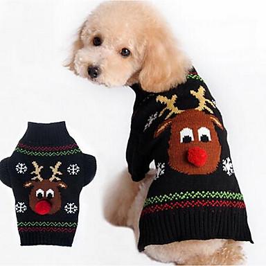 Pies Płaszcze Swetry Ubrania dla psów Urocza Codzienne Modny Święta Bożego Narodzenia Kreskówka Black