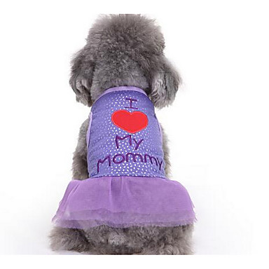 Pies Suknie Ubrania dla psów Księżniczka Purple Różowy Bawełna Kostium Dla zwierząt domowych Damskie Urocza Codzienne Modny