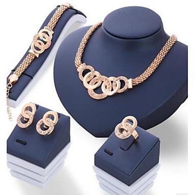 Pentru femei Seturi de bijuterii De Bază Cerc Ștras Șuviță unică 1 Colier 1 Pereche de Cercei 1 Brățară 1 Inel Pentru Zilnic Casual