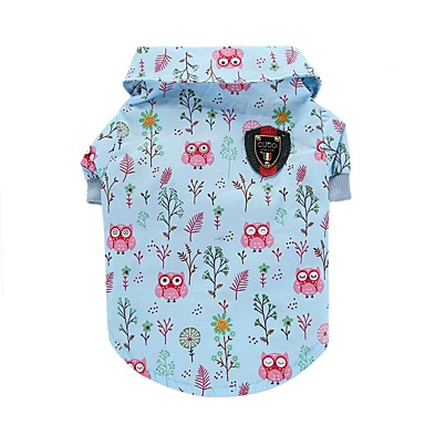 cheap Dog Clothing & Accessories-Cat Dog Shirt / T-Shirt Vest Dog Clothes Animal Blue Cotton Costume For Summer Men's Women's Casual / Daily Fashion