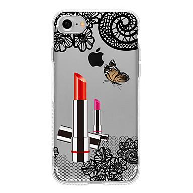Pouzdro Uyumluluk Apple iPhone 7 Plus iPhone 7 Yarı Saydam Arka Kapak Seksi Kadın dantel Baskı Yumuşak TPU için iPhone 7 Plus iPhone 7