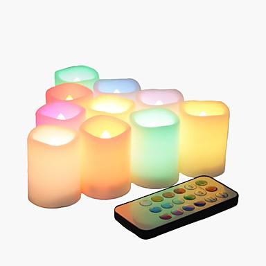 ieftine Lumini Novelty LED-10 pachet fără flacără pâlpâitoare baterie funcționează lumanari votiv cu schimbarea culorii de la distanță condus de ceai lumini decorative pentru Halloween Crăciun nunta petrecere eveniment acasă bu