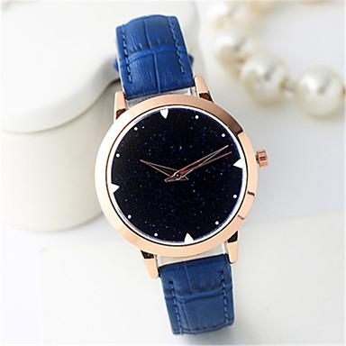 Dames Modieus horloge Kwarts Hot Sale Leer Band Informeel Cool Zwart Wit Blauw Rood Bruin