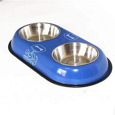 قط كلب الطاسات وزجاجات مغذيات حيوانات أليفة السلطانيات والتغذية مقاوم للماء المحمول أحمر أزرق