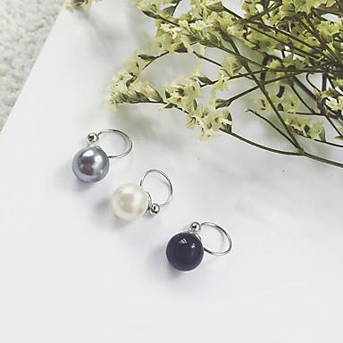 Damen Imitierte Perlen Künstliche Perle / Schwarze Perle / Graue Perle Klips - Euramerican / Modisch Weiß / Schwarz / Grau Kreisförmig