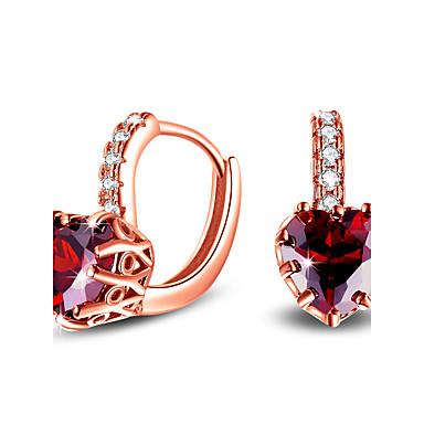 Heren Dames Synthetische Ruby Hart Euramerican Eenvoudige Stijl Klassiek Elegant Modieus Aanbiddelijk Verzilverd Hartvorm Sieraden Voor