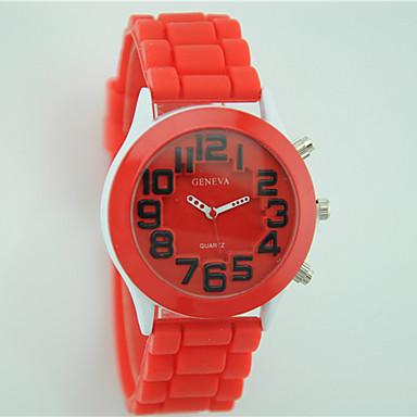 Damen Armbanduhr Modeuhr Quartz Silikon Band Freizeit Schwarz Weiß Blau Rot Grün Lila