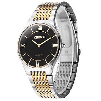 levne Pánské-CHENXI® Pánské Náramkové hodinky Křemenný Nerez Stříbro Hodinky na běžné nošení Analogové Přívěšky - Zlatá Bílá Černá