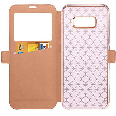 hoesje Voor Samsung Galaxy S8 Plus S8 met standaard met venster Flip Volledige behuizing Effen Kleur Hard PU-leer voor S8 S8 Plus