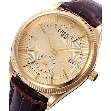 Heren Dress horloge Modieus horloge Japans Kwarts Kalender Leer Band Informeel Cool Zwart Bruin