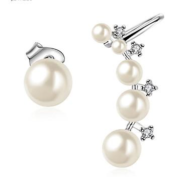 Damen Mädchen Ohrstecker Tropfen-Ohrringe Kreolen Synthetischer Diamant Imitierte Perlen Basis Kreisförmiges Einzigartiges Design Perle