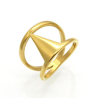 Bărbați Pentru femei Inel Inel de declarație Band Ring Auriu Argintiu Oțel titan 18K Aur Rotund Geometric Shape Taper Shape Personalizat