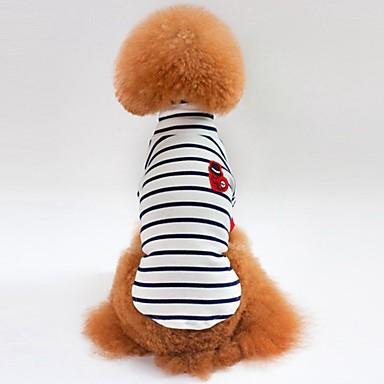 قط كلب T-skjorte كنزة ملابس الكلاب مخطط أبيض أزرق قطن كوستيوم للحيوانات الأليفة للرجال للمرأة كاجوال/يومي